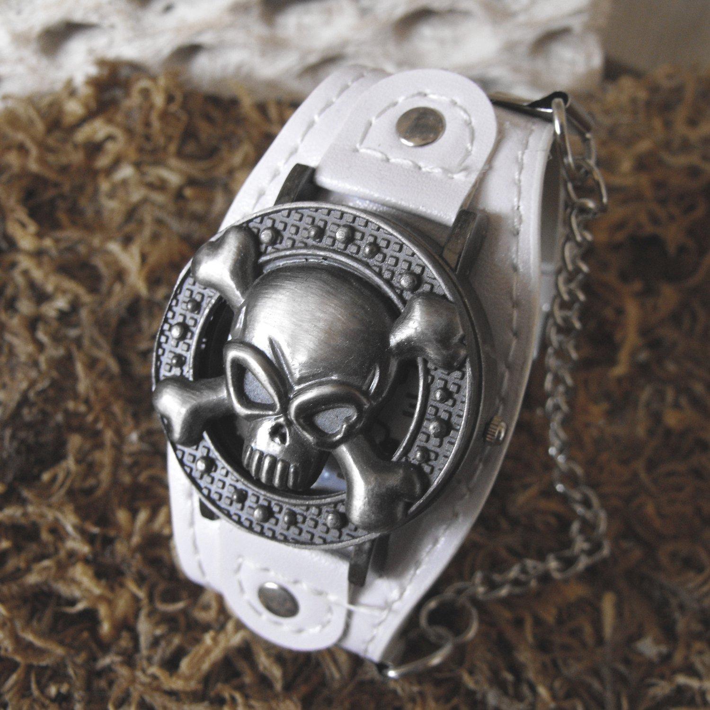 Gothic Style Hidden Watch Face Skull Bracelet (white)