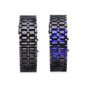 Hidden L.E.D. Display Black Stainless Steel Watch (b)