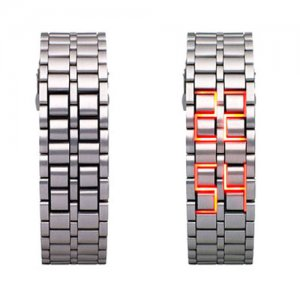 Hidden L.E.D. Display Silver Stainless Steel Watch (r)