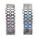 Hidden L.E.D. Display Silver Stainless Steel Watch (b)