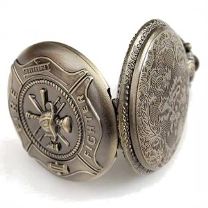 Fire Fighters Pocket Watch With Chain And Fastner