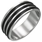 Rubber And Stainless Steel Ring (sz.7½)