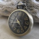 Big Numeral Faced Pendant Watch With Chain