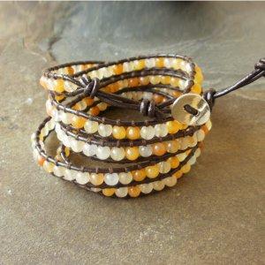 Beaded Leather Wrap Bracelet 5 Wrap Yellow Jade Unisex