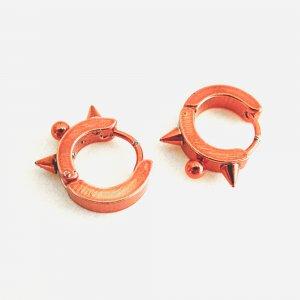 Stainless Steel Hoop Huggie Earrings Red