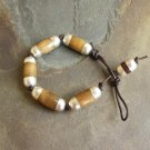 Organic Wood Beaded Knotted Brown Leather Bracelet Men