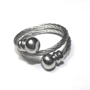 Steel Cable Double Wrap Ring With Bell End Caps (sz.7-8)
