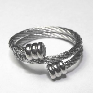 Steel Cable Double Wrap Ring With Flat End Caps (sz.7-8)