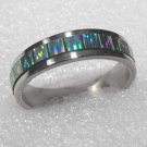 Stainless Steel Mother Of Pearl Ring (green sz 12.5)