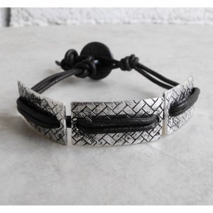 Black Leather And Metal Surfer Bracelet