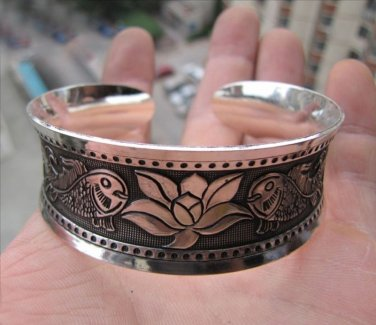 Tibetian Silver Lotus and Fish Cuff Bracelet Unisex