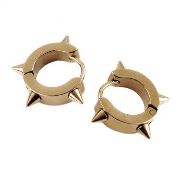 Stainless Steel Hoop Huggie Spike Punk Earrings (gold)