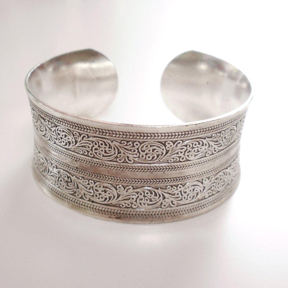 Tibetian Silver Tribal Cuff Bracelet Unisex