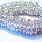 Rhinestone Rondelle Spacers Silver 10mm 144 PCS