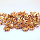 10mm Gold Rhinestone Rondelle Spacers 100 PCS