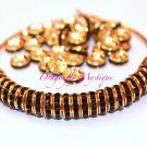 100mm Gold Rhinestone Rondelle Spacers 100 PCS