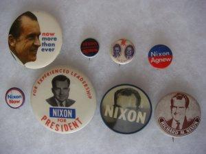 Lot of 8 Original Richard Nixon Political Campaign Pin Pinbacks