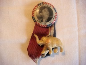 Wendell Willkie political Ribbon Elephant Pin (ca. 1940)