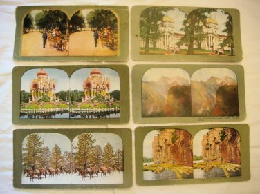 6 Stereoview Cards - Parks, Buildings, People (ca. 1890)