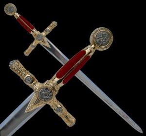 "43"" Red & Gold Masonic Sword, Freemasonary"