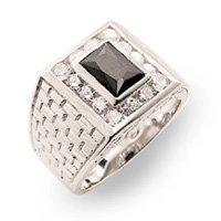 Onyx & Diamond CZ Mens Ring (A33010)