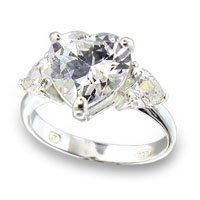 Clear 3 Stone Heart Ring (A49801)