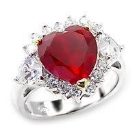 Ruby Rosette CZ Heart Ring (A6X062)
