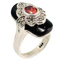 Antique Tone Black Stone Ring (A08404)