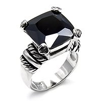 Jet Black Square CZ Ring (A6X527)