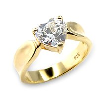 CZ Solitaire Heart Ring (A6X083)