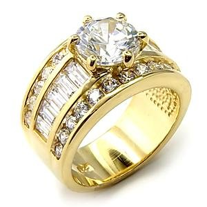 Wide SS Gold Plated Engagment Ring (A7X177)