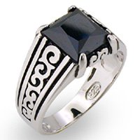 Mens or Ladies Onyx CZ Ring (A31406)