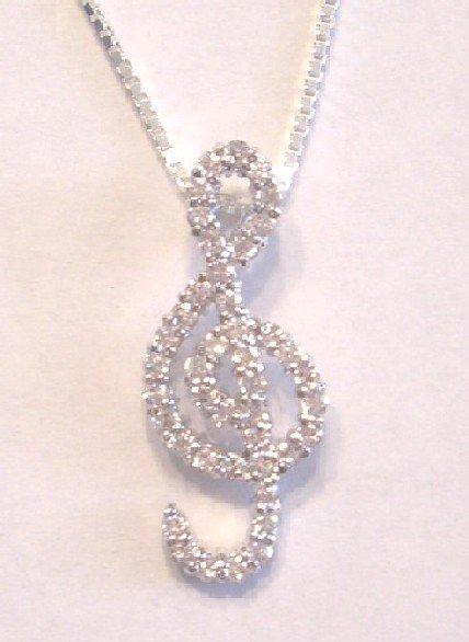 Music G Cleff CZ Necklace (PCH-3022)