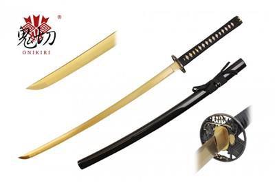 """Onikiri Weaver Samurai Hand-Forged 42"""" Gold Katana Sword w/ Scabbard Collectible"""