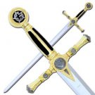 "Masonic Templar Crusader Knight 45.25"" Sword with Plaque - Blue Handle"