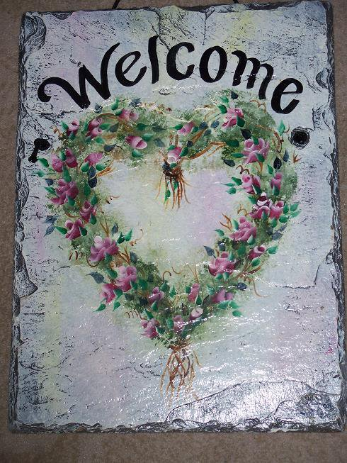 Personalized Custom Hand Painted Welcome Slate Sign