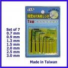7 Mini Hex Allen Key Wrench Metric 0.7 0.9 1.3 1.5 2 2.5 3 mm RC Hobbies