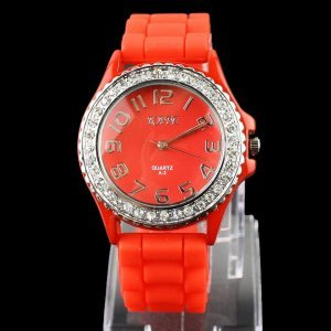 Women's Fashion Watch,Rubber Watchband With Crystal