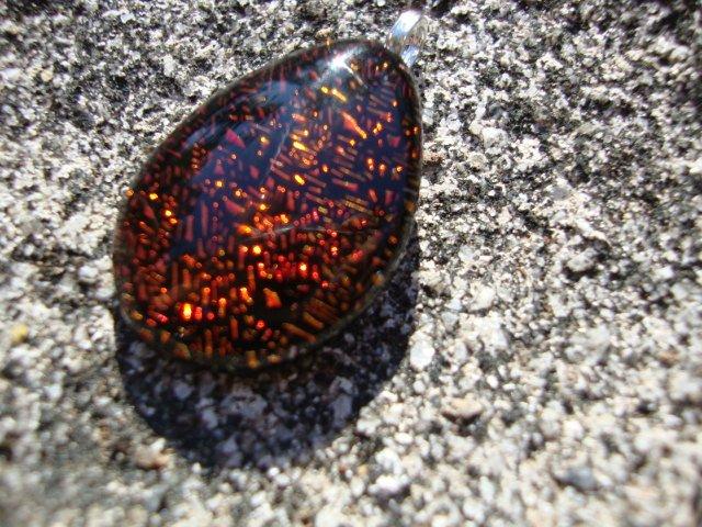 Red Teardrop Glass Pendant
