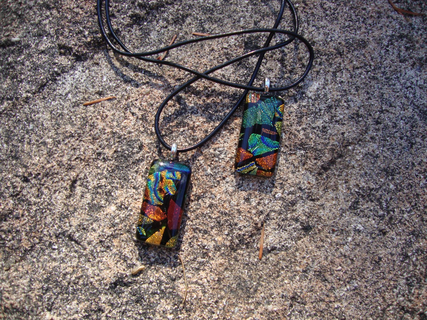 Dichroic Glass Orange Pendant