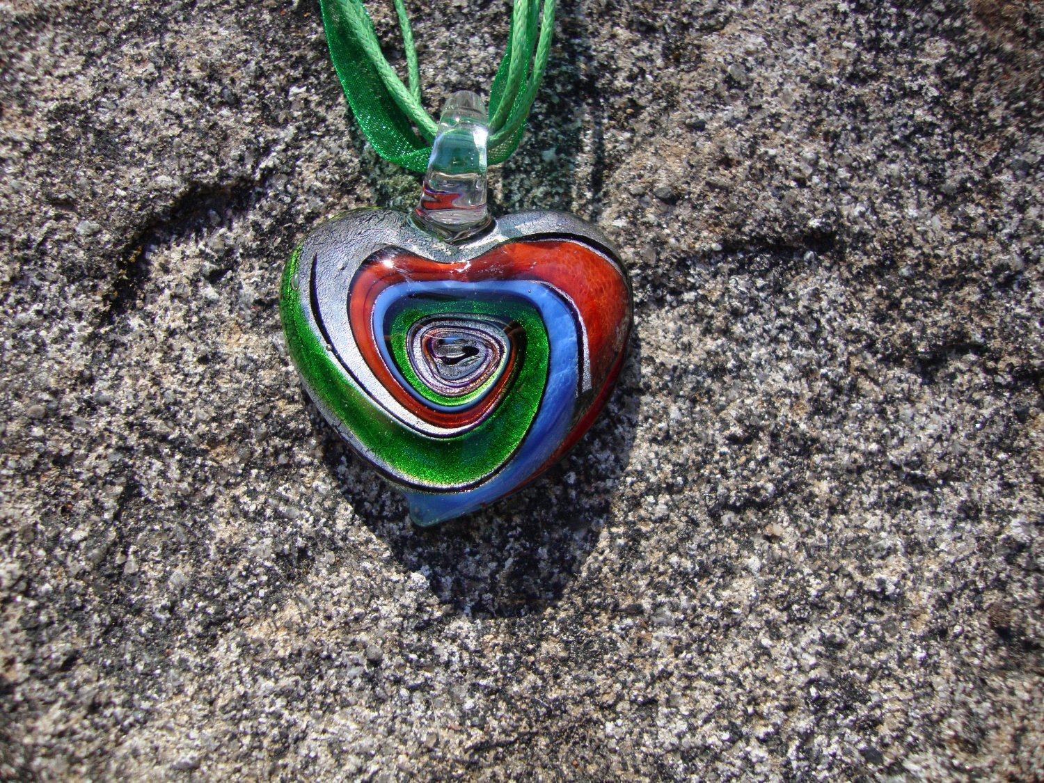 Green Glass Heart Necklace