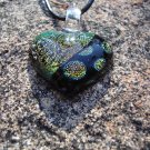 Orange Dichroic Glass Hearts