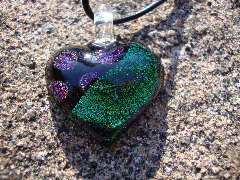 Green Dichroic Glass Heart