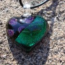 Green Dichroic Glass Heart
