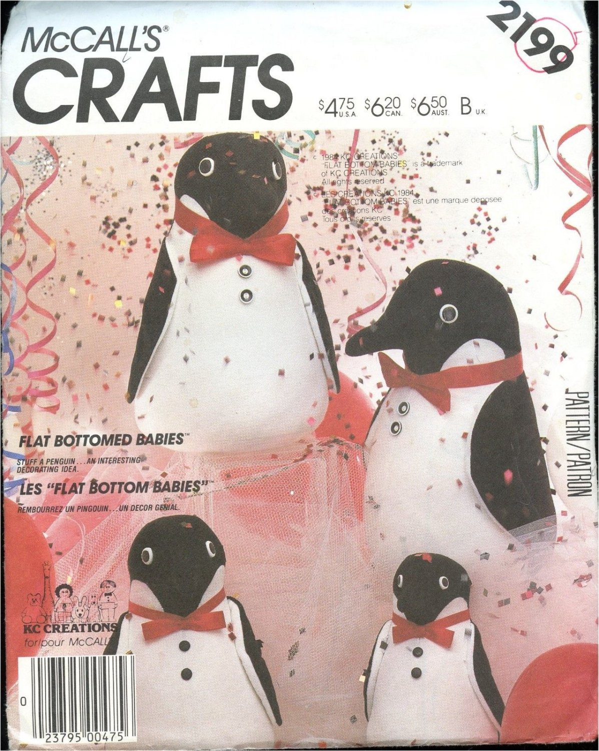 McCall's CRAFT Sewing Pattern #2199 FLAT BOTTOM Babies Penguins in 3 sizes Uncut