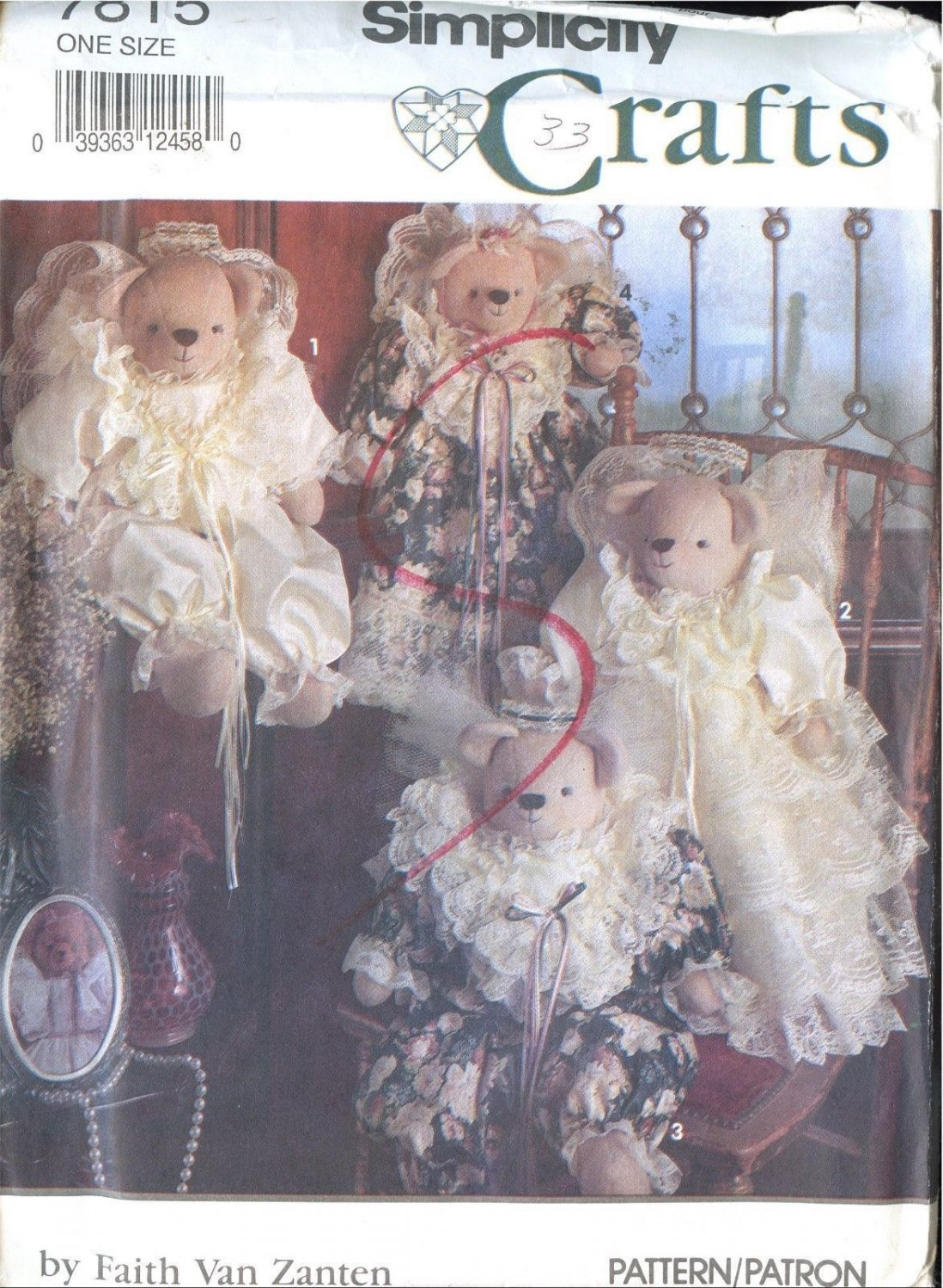 """Simplicity Crafts Sewing Pattern 7815 Uncut 18"""" Stuffed Bears and Clothes"""