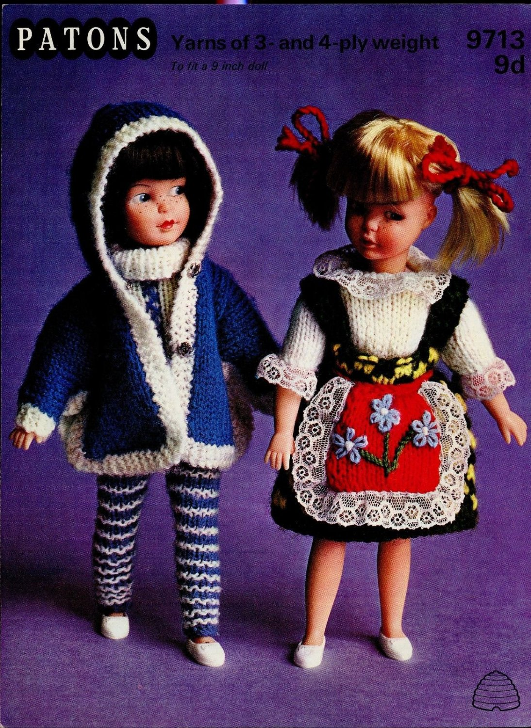"""PATONS PATTERN 9713 9d 9"""" Dolls Yarns of 3 and 4ply weight knitting pattern"""