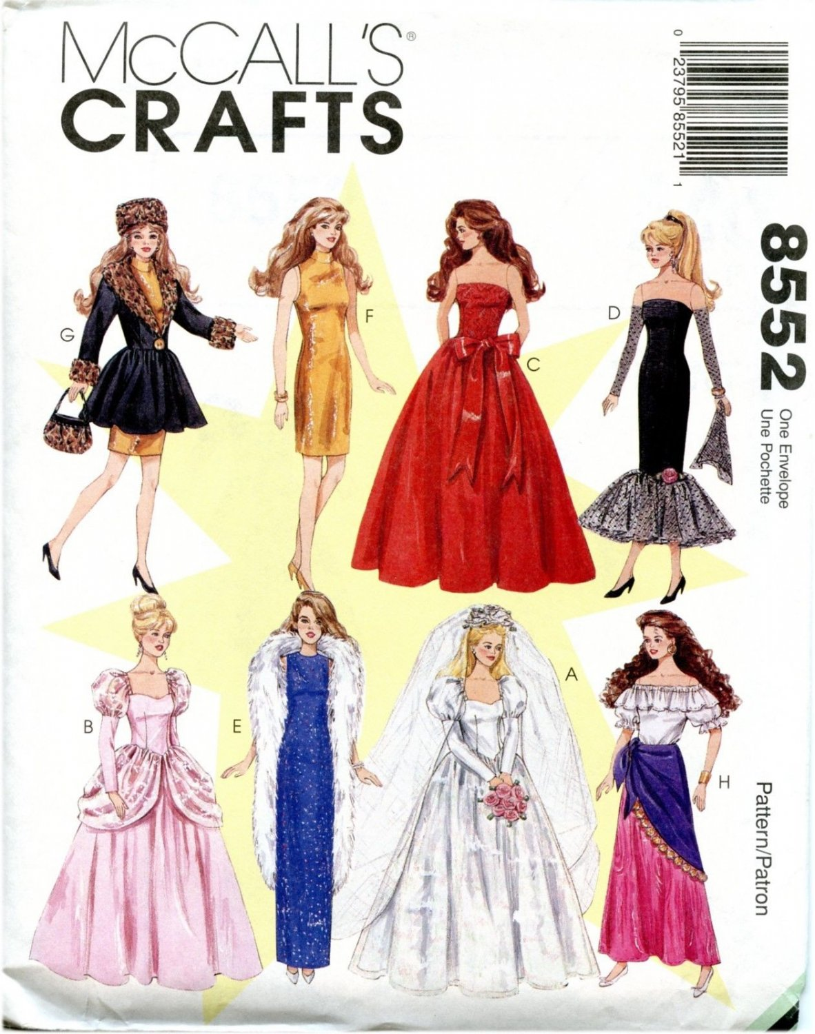 """1990's McCall's 8552 Sewing Pattern Fits 11.5"""" Barbie Fashion Dolls Doll"""