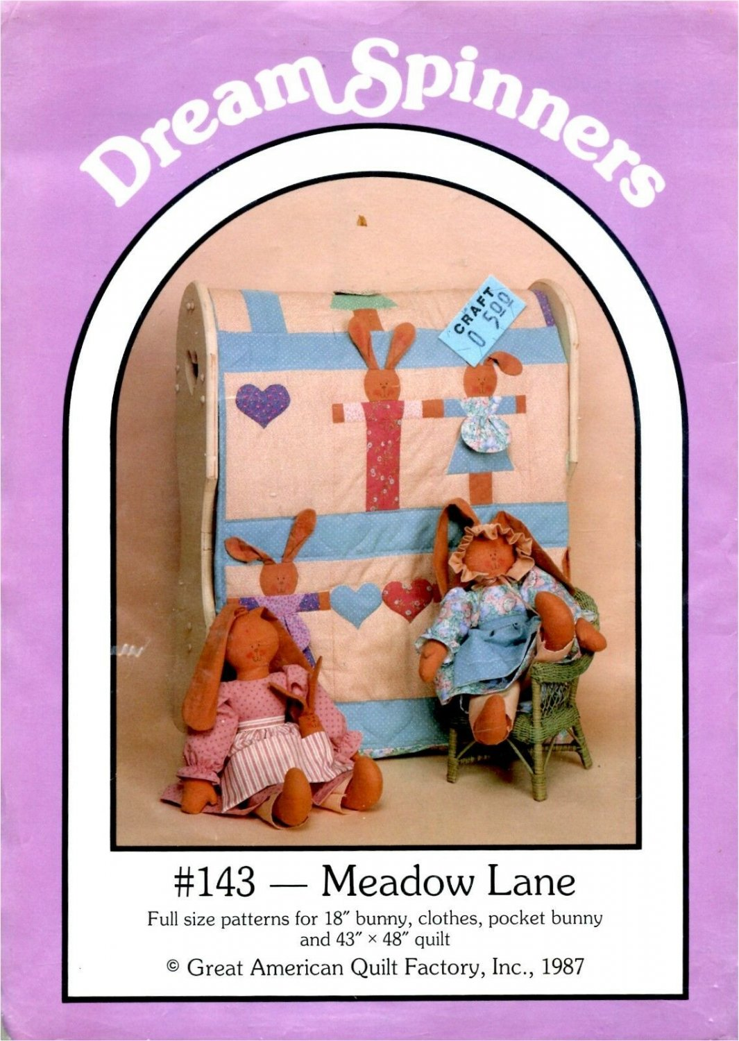 """Meadow Lane 18"""" Bunny, Clothes, Pocket Bunny & 43x48 Quilt Pattern DreamSpinners"""