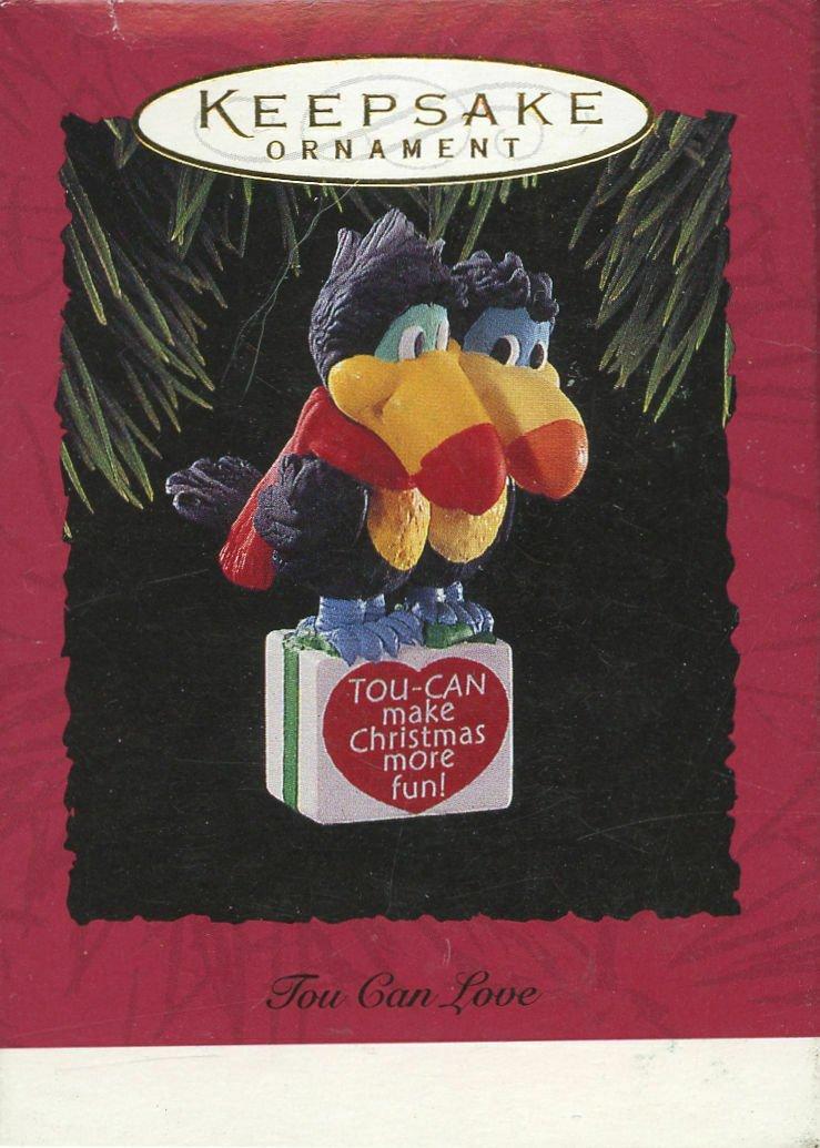 TOU CAN LOVE - Toucan Couple on Christmas Gift - Hallmark Keepsake Ornament 1994
